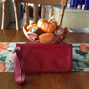 Harold's Red Leather Wristlet